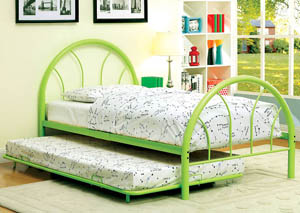 Image for Rainbow Green High Headboard Full Metal Platform Bed w/Trundle