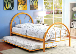 Image for Rainbow Orange High Headboard Full Metal Platform Bed w/Trundle