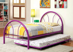 Image for Rainbow Purple High Headboard Full Metal Platform Bed w/Trundle