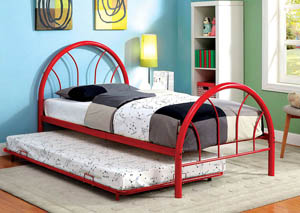 Image for Rainbow Red High Headboard Full Metal Platform Bed w/Trundle