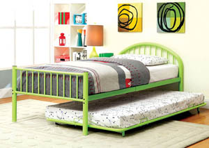 Image for Rainbow Green Low Headboard Full Metal Platform Bed w/Trundle