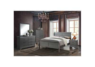 Image for Louis Philippe III Gray Eastern King Sleigh Bed w/Dresser and Mirror