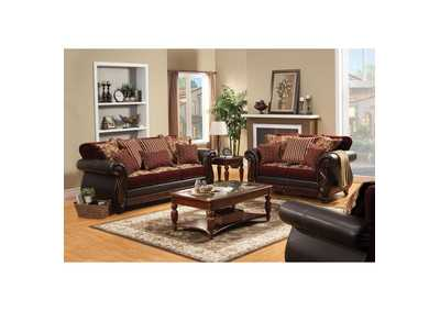 Franklin Burgundy Sofa and Loveseat