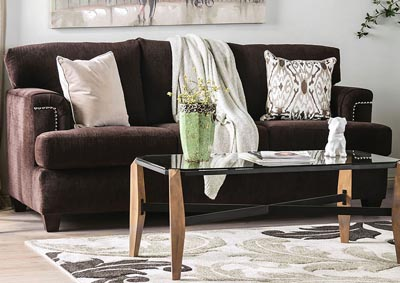 Brynlee Chocolate Sofa and Loveseat,Furniture of America