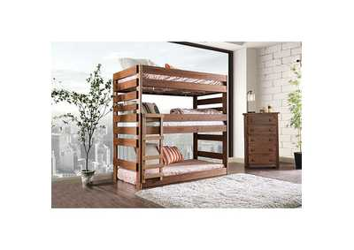 Image for Pollyanna Mahogany Twin Triple Decker Bunk Bed