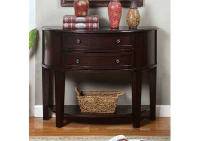 Image for Chanti Espresso Bow-Shaped Side Table w/2 Drawers & Open Shelf