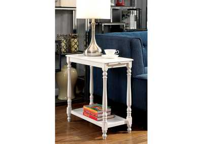 Image for Deering White Side Table w/Hidden Tray & Open Shelf