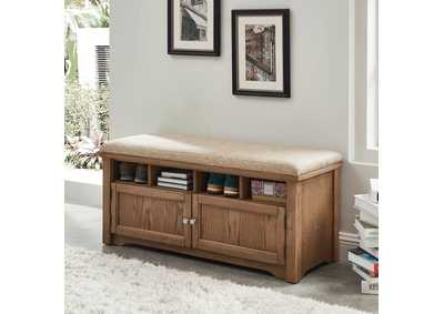 Gwebdolyn Oak Shoe Bench w/Storage