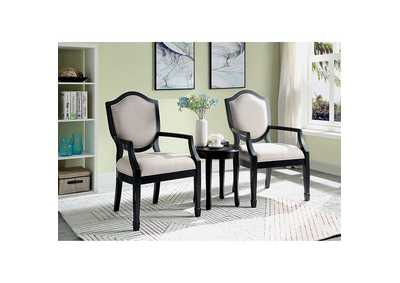 Emma Black Accent Table And Chair (3 PK),Furniture of America