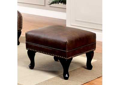 Image for Vaughn Rustic Brown Leatherette Ottoman