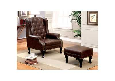 Image for Vaughn Rustic Brown Leatherette Accent Chair