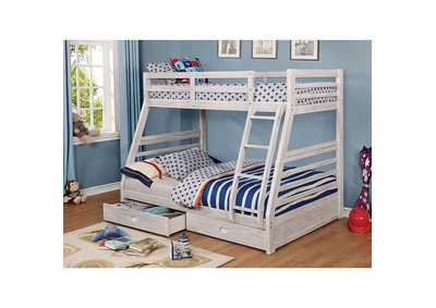 California Wire-Brushed White Bunk Bed,Furniture of America