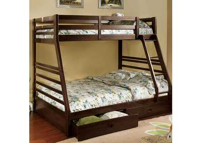 Image for California lll Dark Walnut Twin/Full Bunk Bed w/2 Drawers