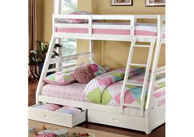 Image for California lll White Twin/Full Bunk Bed w/2 Drawers