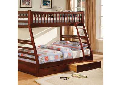 California II Wood Twin/Full Cherry Bunk Bed