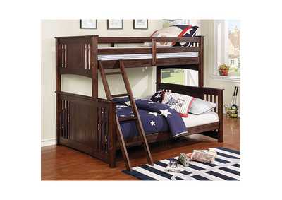 Spring Creek Wire-Brushed Dark Walnut Twin/Full Bunk Bed