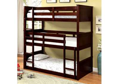 Image for Therese Dark Walnut Triple Twin Decker Bunk Bed