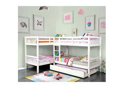 Marqutte White L-Shaped Quadruple Twin Bunk Bed