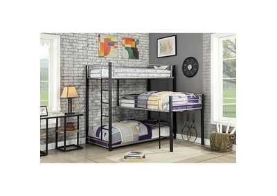 Aubrey Sand Black Twin Triple Decker Bunk Bed
