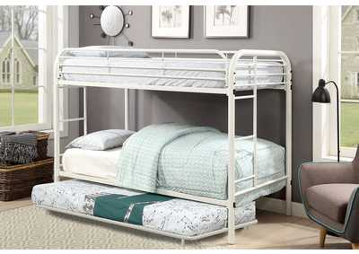 Opal White Twin/Twin Metal Bunk Bed