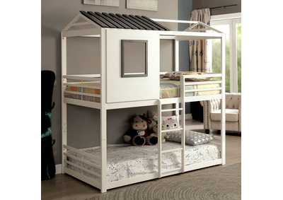 Stockholm White Gun Metal Twin/Twin Bunk Bed