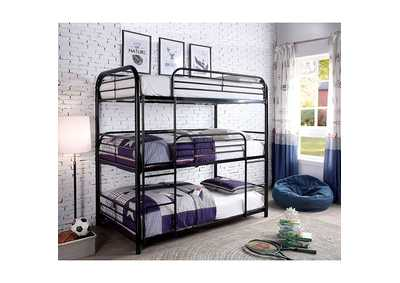 Opal II Black Twin/Twin/Twin 3-Tiered Bunk Bed