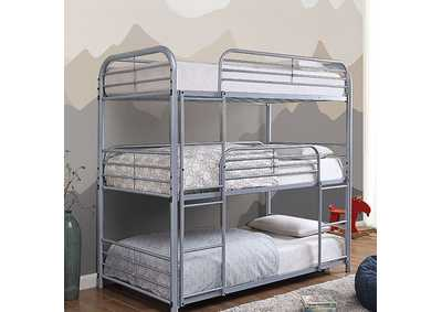Opal II Silver Twin/Twin/Twin 3-Tiered Bunk Bed,Furniture of America