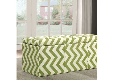 Image for Zahra l Green Chevron Pattern Storage Ottoman