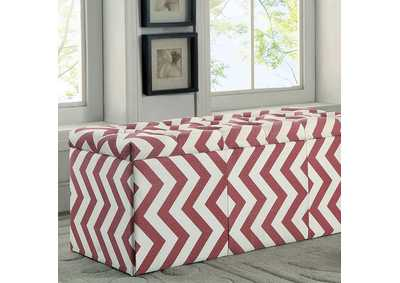 Image for Zahra l Red Chevron Pattern Storage Ottoman