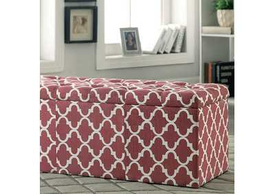 Image for Zaira l Red Quatrefoil Pattern Storage Ottoman
