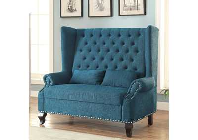 Image for Alcacer Teal Wingback Loveseat w/Button Tufting & 2 Pillows