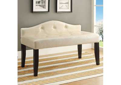 Image for Calpas III Pearl White Small Leatherette Bench