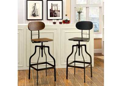 Image for Leith Dark Brown Swivel Barstool w/Wooden Block Seat & Metal Frame