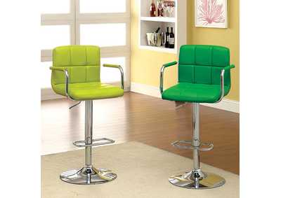 Image for Corfu Lime Leatherette Swivel Barstool w/Armrest & Chrome Leg