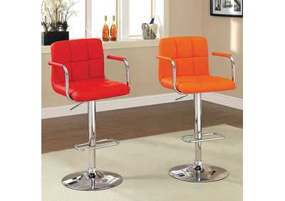 Image for Corfu Orange Leatherette Swivel Barstool w/Armrest & Chrome Leg