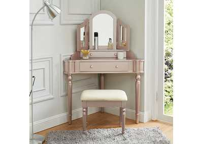 Image for Kasey Rose Pink Vanity w/ Stool
