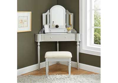 Image for Kasey Silver Vanity w/ Stool
