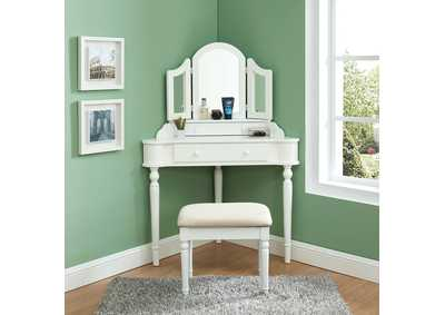 Image for Kasey White Vanity w/Stool
