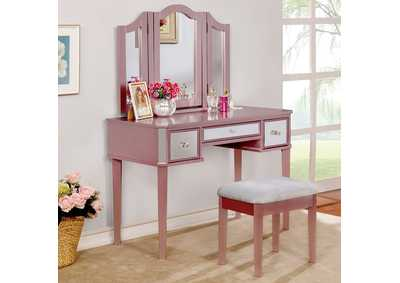 Image for Clarisse Rose Gold Vanity w/Stool