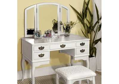 Image for Ashland White Vanity w/Padded Stool