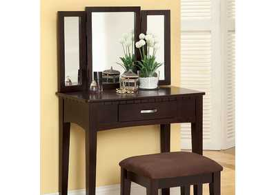Image for Potterville Espresso Vanity Table w/Padded Stool