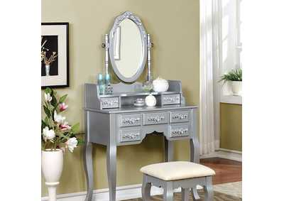 Harriet Silver Vanity W/ Stool,Furniture of America