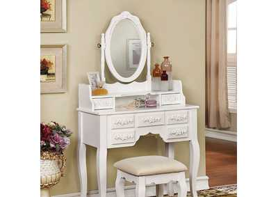 Harriet White Vanity W/ Stool
