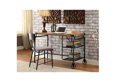 Image for Olga Antique Black Desk w/Wood Top