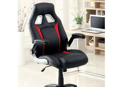 Image for Argon Black/Sliver/Red Leatherette Office Chair w/Adjustable Height