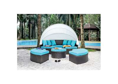 Image for Aria Brown/Turquoise Patio Daybed Sectional