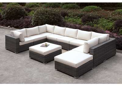 Image for Somani Light Gray/Ivory Wicker U-Sectional w/Ottoman