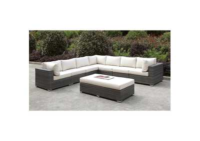 Image for Somani Light Gray/Ivory Wicker Large L-Sectional w/Bench