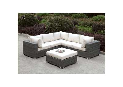 Somani Light Gray/Ivory Wicker L-Sectional w/Ottoman