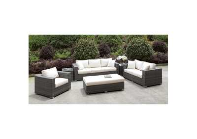 Somani Light Gray/Ivory Wicker 3 Piece Patio Set (Bench & 2 End Tables)